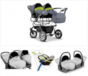 Gemellare - passeggino con funzione carrozzina + 2 ovetti