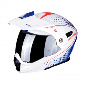CASCO MOTO MODULARE SCORPION ADX- 1 HORIZON PEARL WHITE RED BLUE