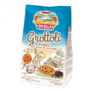 DIVELLA 18 Confezioni biscotti frollini grottoli con gocce di cioccolato 400gr