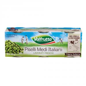 VALFRUTTA 8 Confezioni piselli in scatola 3 pezzi