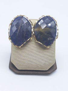 Orecchini quarzo rutilato e sodalite blu in oro giallo 750, vendita on line | GIOIELLERIA BRUNI Imperia