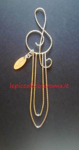 Segnalibro in filigrana d'argento, chiave di violino