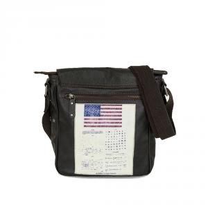 Avirex - Top Gun - Borsa a tracolla con patch Militari Edizione Limitata Marrone cod. TPGN-305