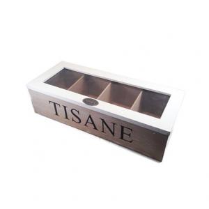 Scatola Legno per Tè e Tisane  4 vani rettangolare