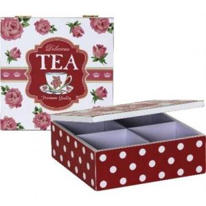 Scatola da Tè in Legno a 4 Scomparti