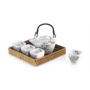 Set da Tè con Vassoio in Vimini