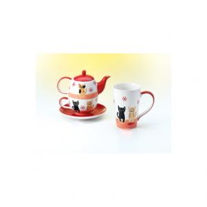 Tea For One con Disegnati Gatti Nero e Beige