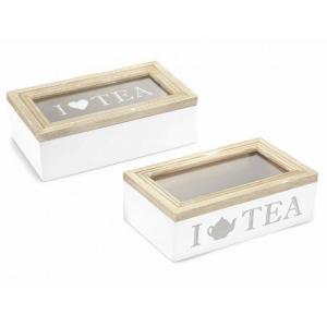 Scatola da Tè in Legno a 1 Vano Rettangolare