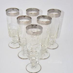 6 Bicchieri Vetro Bordo Argentato