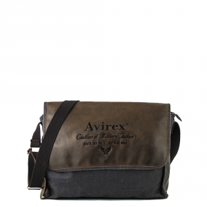Avirex - D Day - Borsa a tracolla unisex in canvas con patta marrone scuro cod. DDY-F07