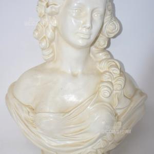 Statua Busto Donna In Gesso