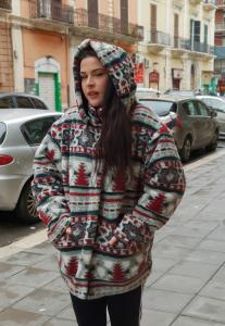 Cappotto vintage anni 90 MULTICOLOR IN PILE TAGLIA M