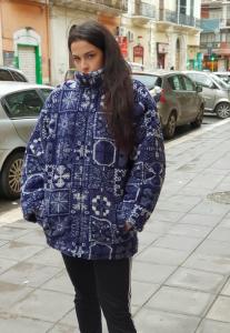 Cappotto vintage anni 90 MULTICOLOR IN PILE TAGLIA S