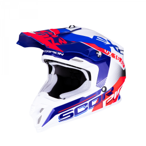 CASCO MOTO CROSS SCORPION VX-16 AIR ARHUS PEARL WHITE BLUE NEON RED