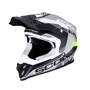 CASCO MOTO CROSS SCORPION VX-16 AIR ARHUS MATT SILVER BLACK YELLOW