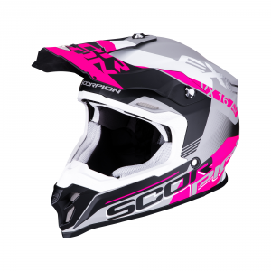 CASCO MOTO CROSS SCORPION VX-16 AIR ARHUS MATT SILVER BLACK PINK