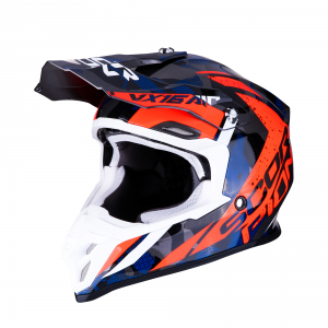 CASCO MOTO CROSS SCORPION VX-16 AIR WAKA SILVER RED BLUE