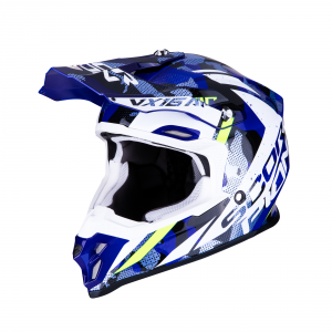 CASCO MOTO CROSS SCORPION VX-16 AIR WAKA BLACK WHITE BLUE
