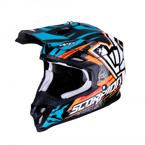 CASCO MOTO CROSS SCORPION VX-16 AIR ROK REPLICA ORANGE BLUE