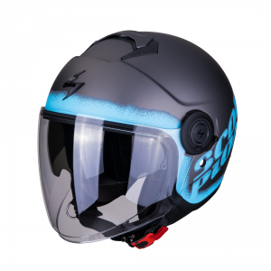CASCO MOTO JET SCORPION EXO-CITY BLURR SILVER BLUE