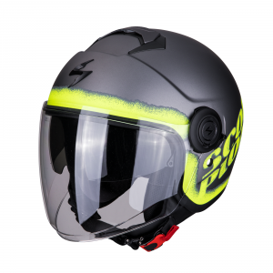 CASCO MOTO JET SCORPION EXO-CITY BLURR SILVER NEON YELLOW