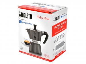 BIALETTI Aluminium Italian Coffee Maker Moka Color Antracite Cups 3