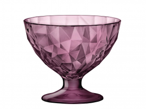 BORMIOLI ROCCO Set 12 Cups Glass Diamond Jr Purple Bowls And Cups Made in Italy