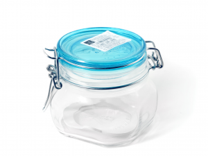 BORMIOLI ROCCO Set 12 Glass Jars Trust Airtight Cap Blue Cc500 Made in Italy