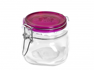 BORMIOLI ROCCO Set 12 Airtight Glass Jars Trust Fuchsia Cap Cc500 Made in Italy