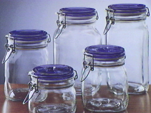 BORMIOLI ROCCO Set 6 Glass Jars Trusty Blue Sealing Plug Cc2000 Made in Italy