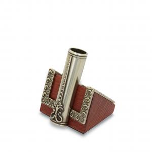 BORTOLETTI bronze pen-holder with wooden base artistic writing Italian Style