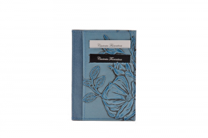 CUOIERIA FIORENTINA  Printed calfskin holder Leather wallet Light Blue Handmade