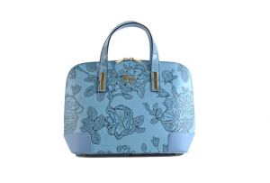 CUOIERIA FIORENTINA bag printed leather Female Calf Light Blue Made in Italy