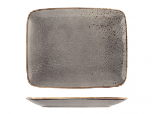 H&H 6 Stoneware Reactive Rectangular Gray Rectangular Cm.29X23 Italian Style