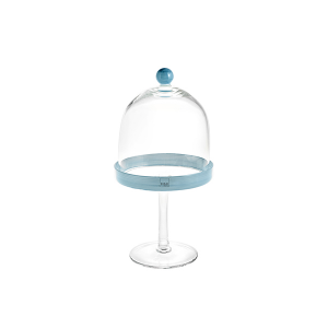 H&H Lift With Glass Dome Blue Cm14 H30 Trays And Risers Italian Style Italy