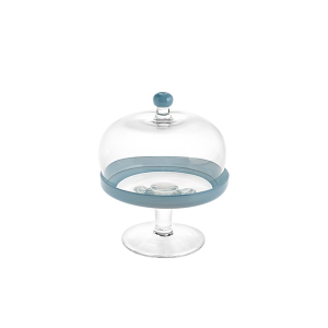 H&H Lift With Glass Dome Blue Cm18 H22 Trays And Risers Italian Style Italy