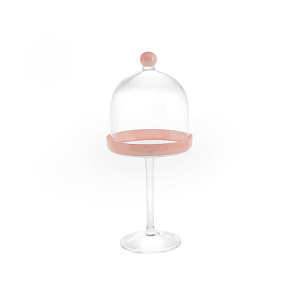 H&H Lift With Glass Dome Pink Cm14 H35 Trays And Risers Italian Style Italy