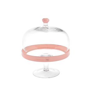 H&H Lift With Glass Dome Pink Cm22 H26 Trays And Risers Italian Style Italy