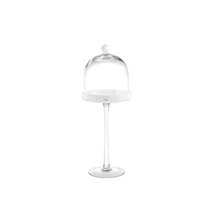 H&H Lift Glass Domed White Cm14 H40 Trays And Risers Italian Style Italy