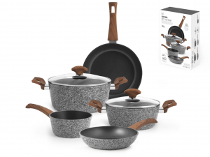 H&H Italian 7 Pieces Non-Stick Maxima Granite Gray Battery Aluminum and non-stick