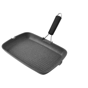 H&H Griddle Stone Handle Rectangular Induction Silicone Cm36X26 Italian Style