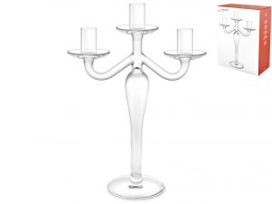 H&H Italian Candelabra 3 Flame Transparent Glass Cm31 Candles Home Appliances