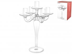 H&H Italian Candelabra 5 Flames Transparent Glass Cm31 Candles Home Appliances