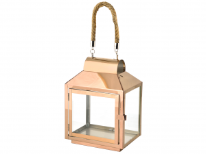 H&H Italian Steel Lantern Copper Rope Handle 20X14Xh28 Lamps And Spotlights