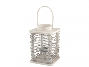 H&H Lantern Wood Square 17Xh25 Italian Style Exclusive Brand Italy