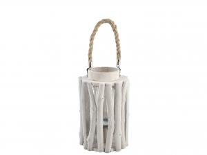 H&H Lantern Round Wood 17X27 Italian Style Exclusive Brand Italy