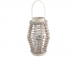 H&H Lantern Round Wood 20X31 Italian Style Exclusive Brand Italy