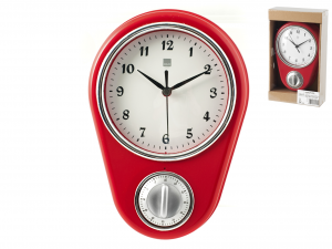 H&H Red Wall Clock Cm16Xh22 Clock And Alarm Clock Italian Style Exclusive Brand