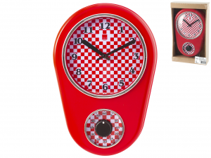 H&H Red Wall Clock Cm21Xh31 Clock And Alarm Clock Italian Style Exclusive Brand