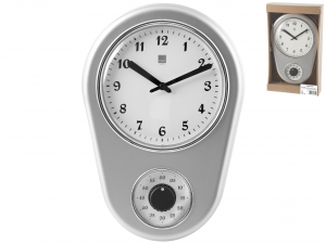 H&H Wall Clock Silver 21Xh31 Clock And Alarm Clock Italian Style Exclusive Brand